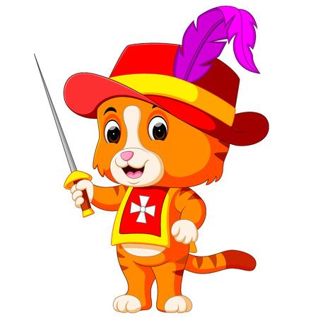 Mousquetaire chaton avec épée illustration vectorielle. Banque d'images - 96973117