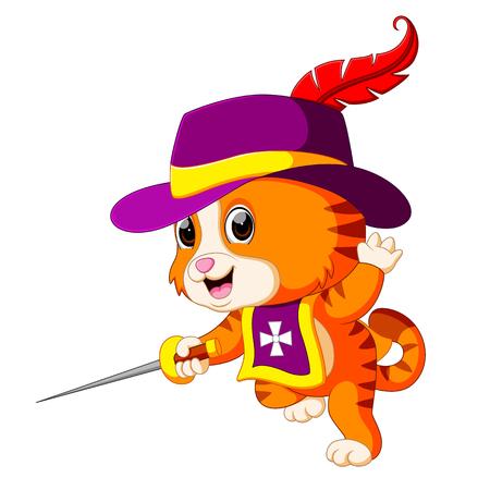 kitten musketeer with sword Vector illustration.