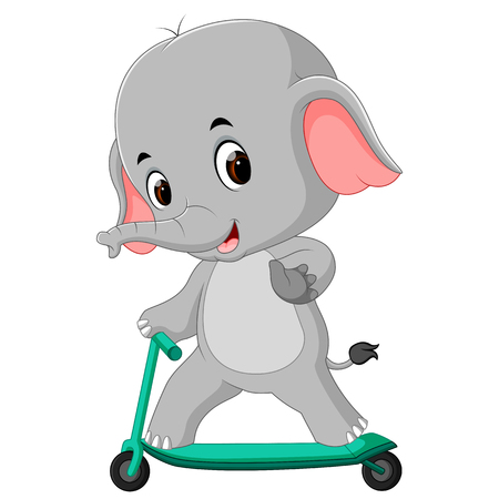 cute elephant riding push scooter Vector illustration.