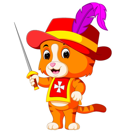 kitten musketeer with sword Stock Photo