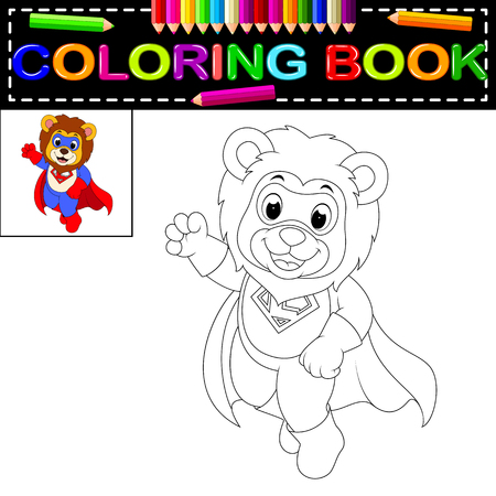 lion coloring book Vector illustration.