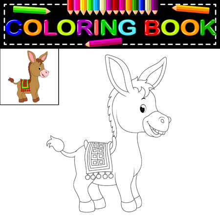 donkey coloring book Vector illustration.