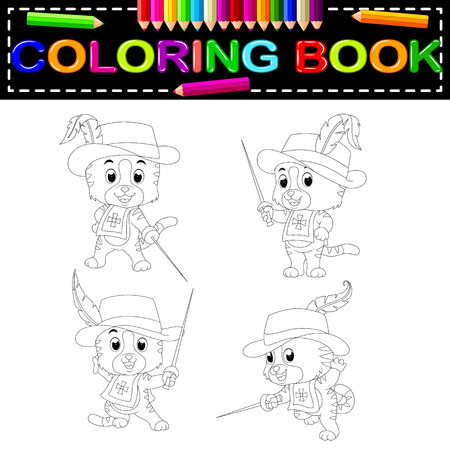 kitten musketeer with sword coloring book Vector illustration.