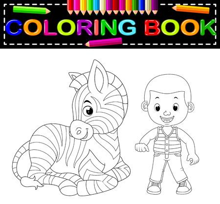 cute boy and zebra coloring book vector illustration Ilustração
