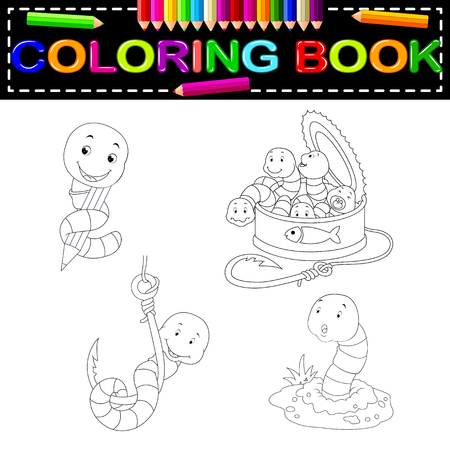 worm coloring book Vectores
