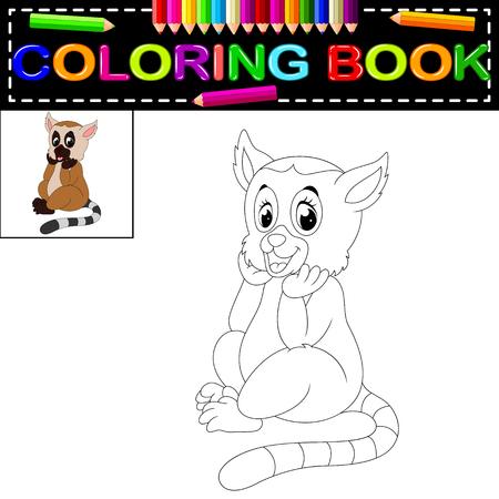 lemur coloring book Vettoriali