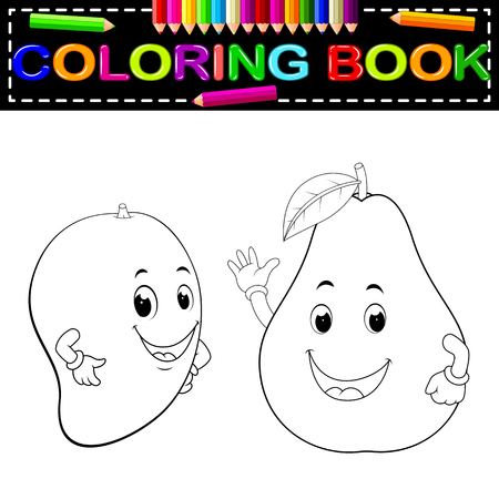 mango and avocado with face coloring book