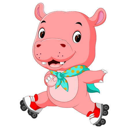 Cute hippo playing roller skates.