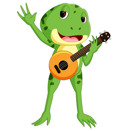 A green frog playing a guitar. Illustration