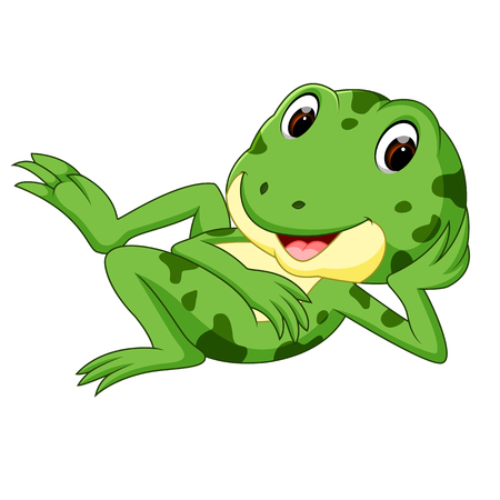 A green frog with a happy smile.