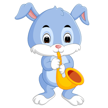 A bunny playing saxophone. Vectores
