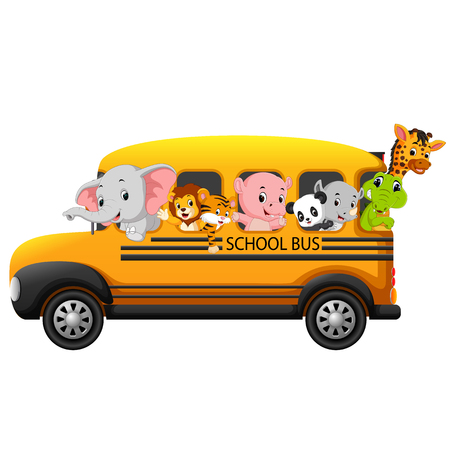 Illustration of school bus filled with animals.