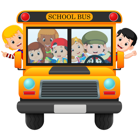 illustration of children of a school bus.