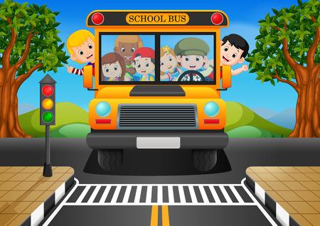 illustration of children of a school bus Stock Illustratie