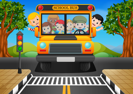 illustration of children of a school bus Illustration