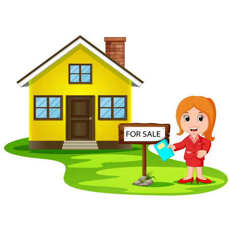 Young women broker offering the house for sale. Illustration