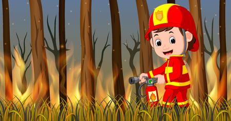 Fireman at the wild fire scene.