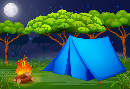 Scene camping out in the woods at night illustration Иллюстрация