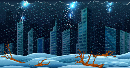 The scene with thunderstorm over the building and flooding  イラスト・ベクター素材
