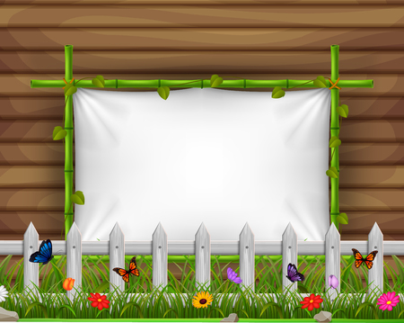 Empty paper blank on wooden signboard in the garden Illustration