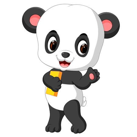 cute panda holding pencil and book