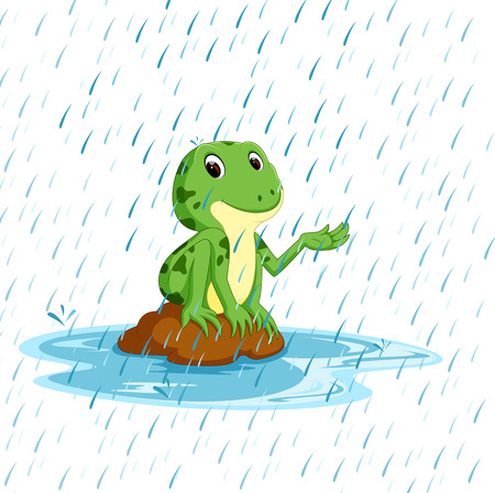 Green frog with happy smile Stock Photo
