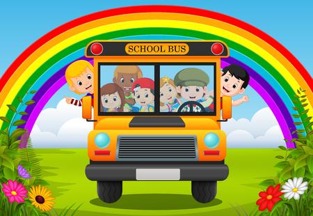 illustration of children of a school bus Stock Photo