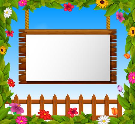 Empty paper blank on wooden signboard in the garden Фото со стока