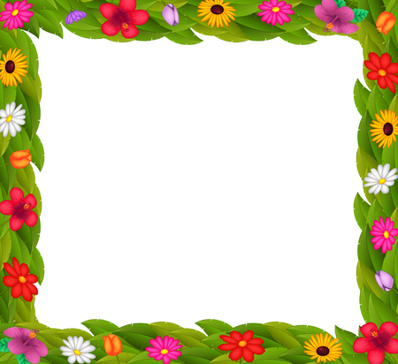 frame design with colorful flowers Stock Photo