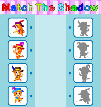 Find the correct shadow of the cat, educational concept illustration. Vectores