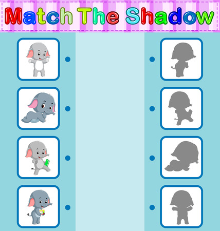 Find the correct shadow of elephant, educational concept illustration.