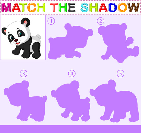 Find the correct shadow of the panda Vettoriali