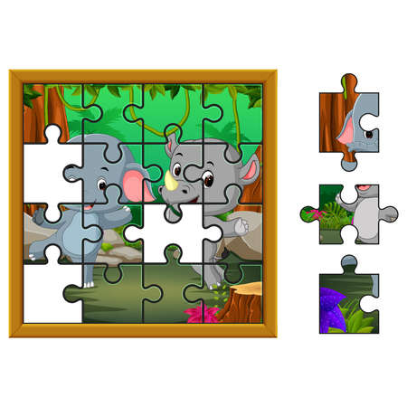 Jigsaw Puzzle Education Game with elephant and rhino in the jungle