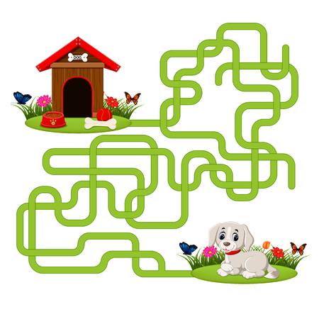 Puzzle game template with dog and doghouse Ilustração