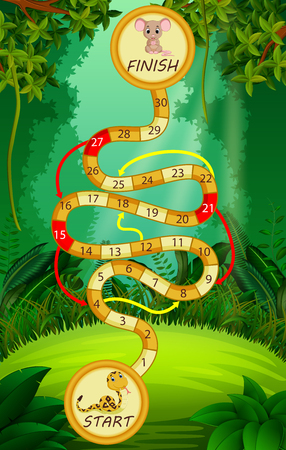 Game template with snake and mouse in forest background