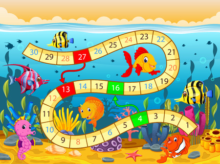 Boardgame template with under the sea background