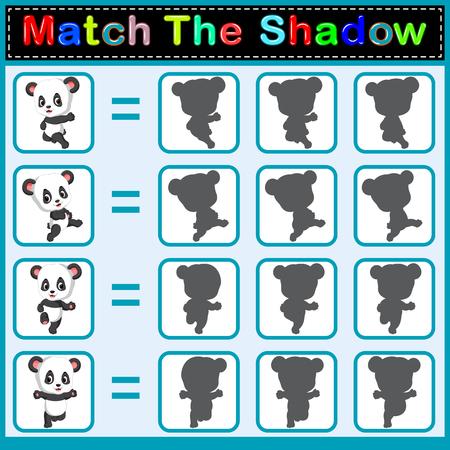 Find the correct shadow of the panda Archivio Fotografico