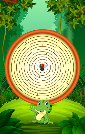 Labyrinth Game with Funny frog and flies Stock Photo
