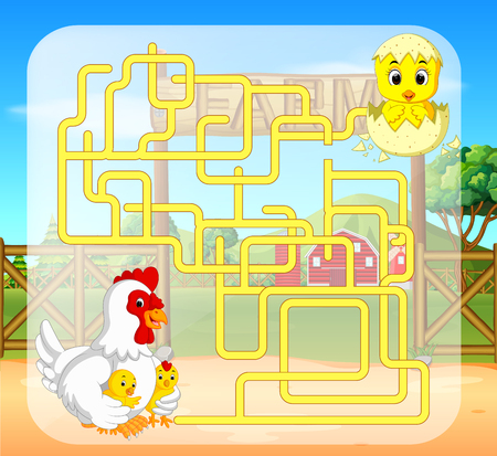 maze game with chicken Stock Photo