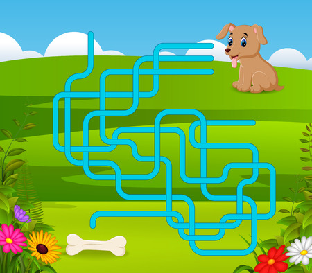 Puzzle game template with dog and bone