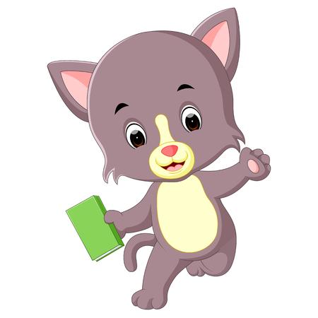 cat holding book