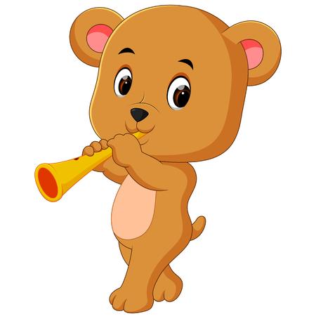 A bear playing instrument. Vettoriali