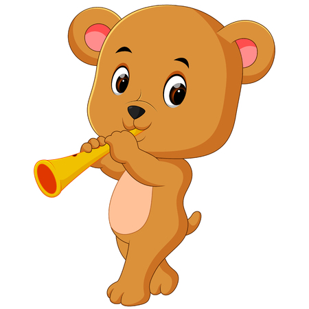 A bear playing instrument. Illustration
