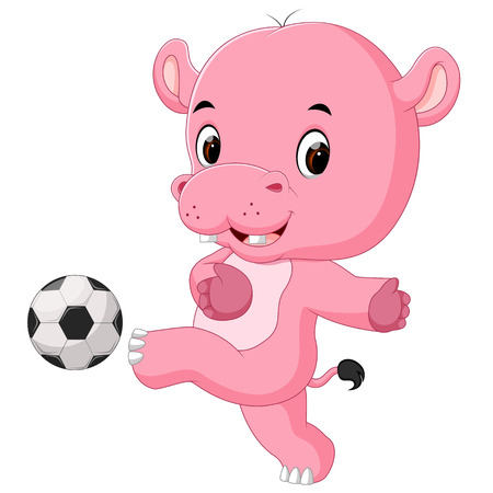 funny hippo playing soccer