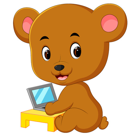 cute bear using laptop computer Stock Photo