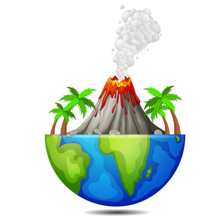 tree and volcano on the earth 일러스트