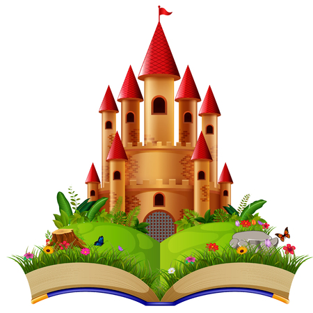 Castle in the storybook Illustration