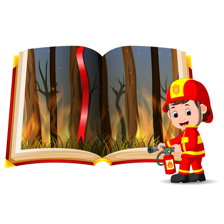 forest on fire in the book and firefighter Illustration