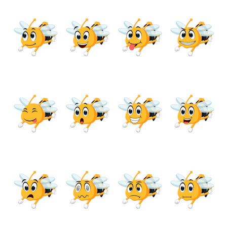Bee with different facial expressions