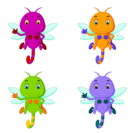 Dragonfly with different facial expressions and different color.